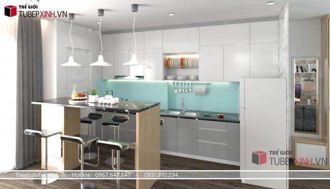 Mẫu tủ bếp gỗ cao cấp acrylic