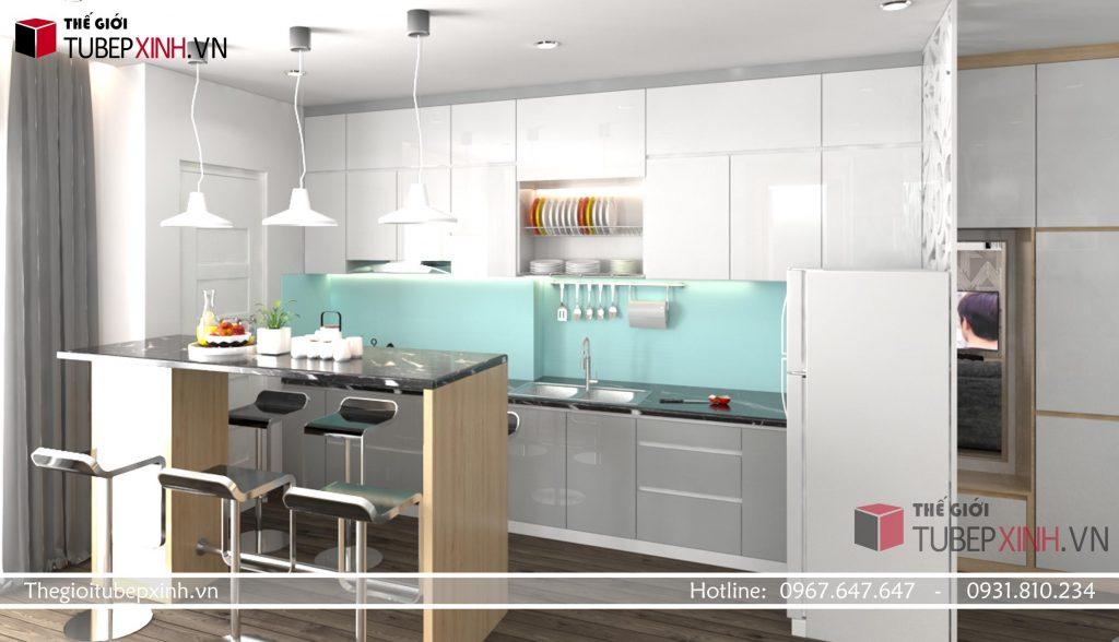 Mẫu tủ bếp MDF acrylic đẹp tại quận thủ đức
