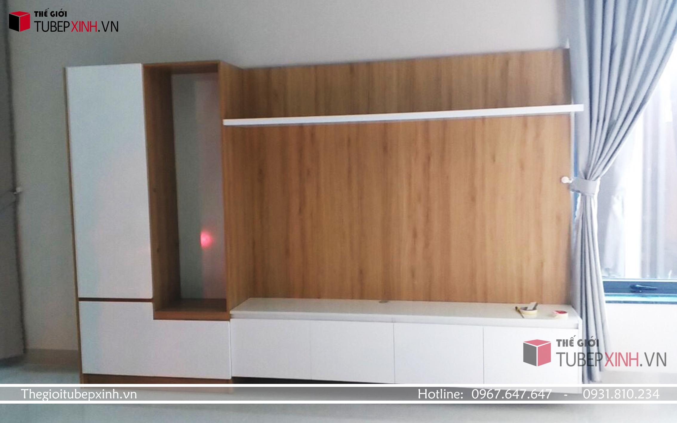 Kệ tivi kết hợp tủ trang trí gỗ mdf