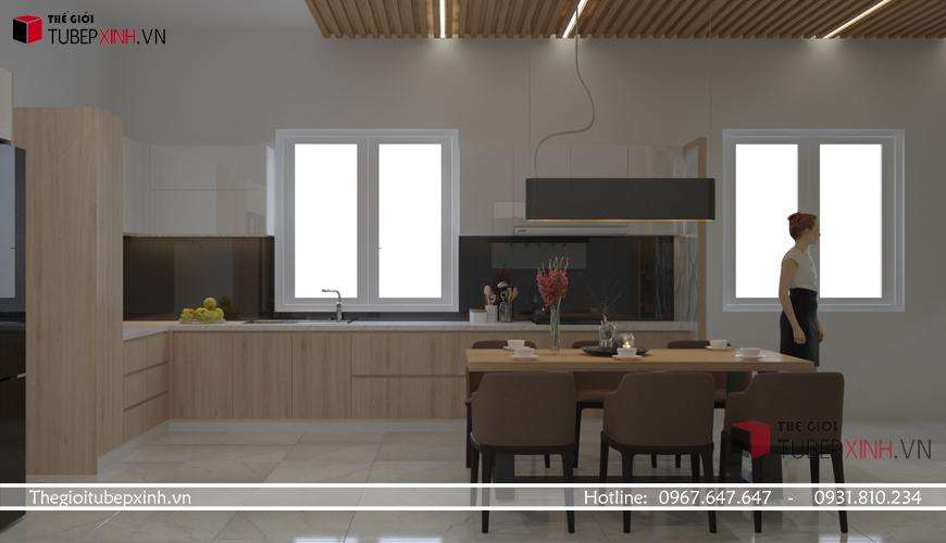 Tủ bếp acrylic màu vân gỗ