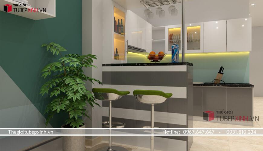 Tủ bếp có quầy bar hiện đại