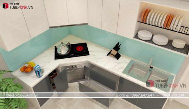 Mẫu tủ bếp acrylic trắng xám