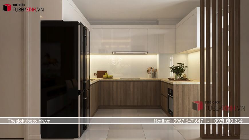 Mẫu thiết kế tủ bếp acrylic
