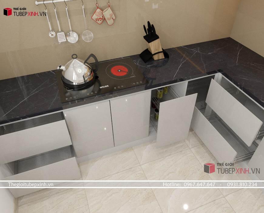 Mẫu tủ bếp ván MDF chống ẩm phủ acrylic