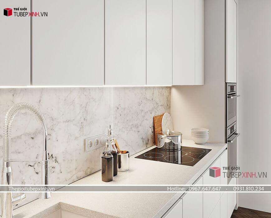 Tủ bếp acrylic bóng gương an cường