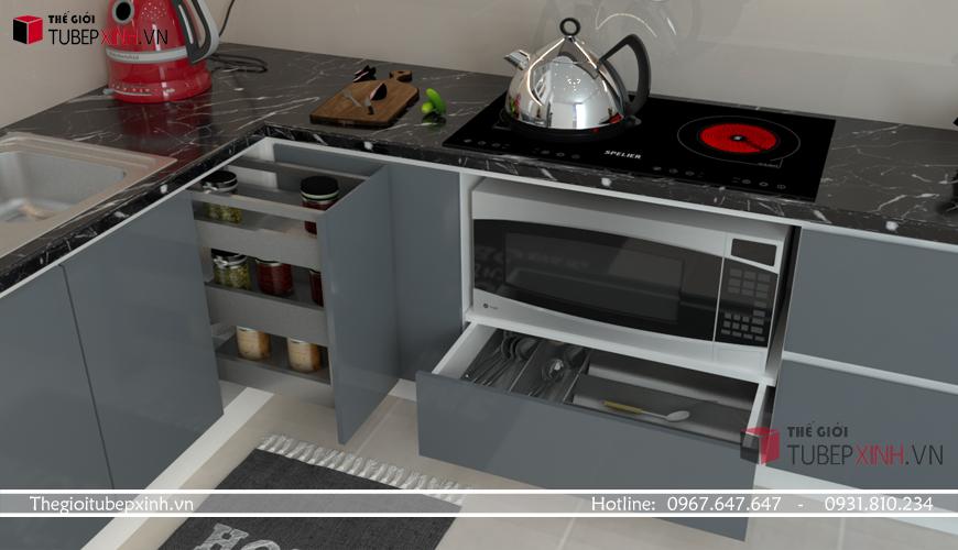 Thiết kế kệ bếp thông minh chữ L cho nhà bếp