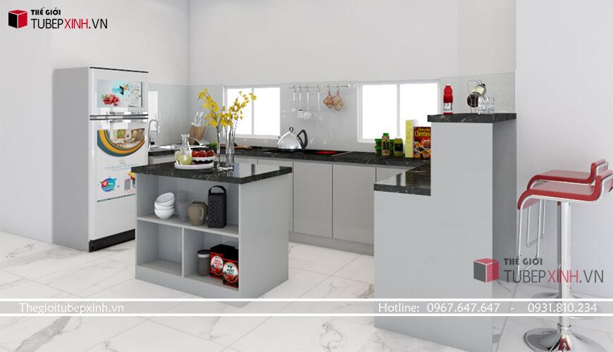 Sử dụng chất liệu Acrylic cho thiết kế tủ bếp