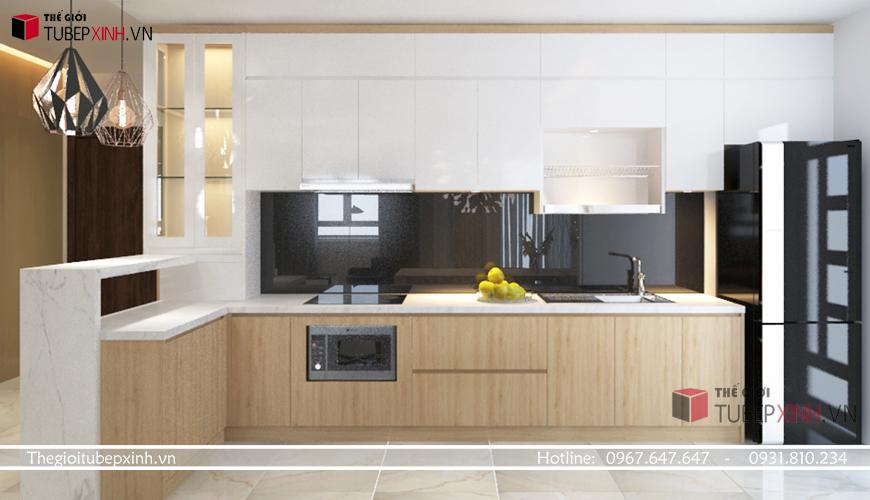 Tủ bếp chung cư hiện đại kiểu dáng chữ L