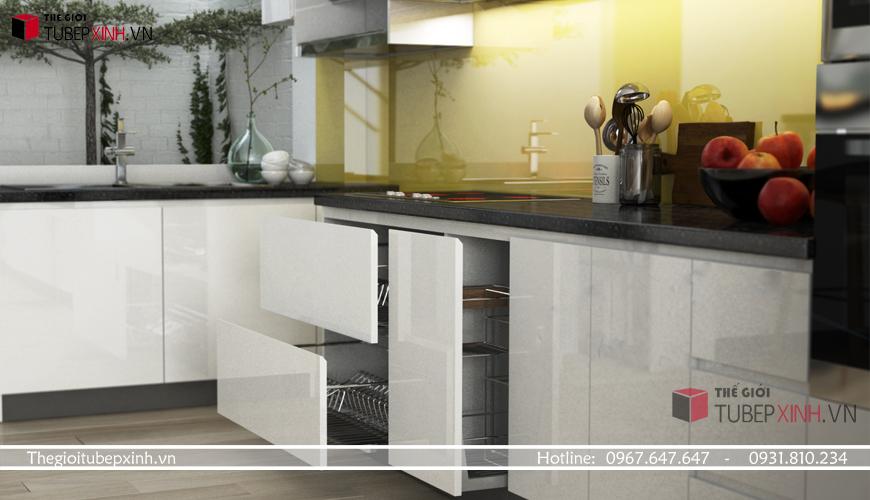 Mẫu tủ bếp phong cách châu âu được sử dụng chất liệu gỗ công nghiệp acrylic cao cấp