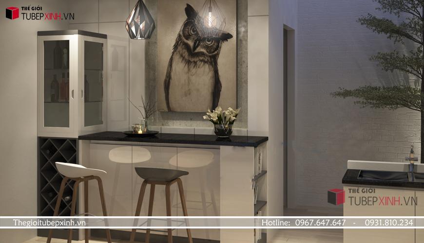 Tủ bếp phong cách châu âu kết hợp quầy bar đem tới không gian đẳng cấp