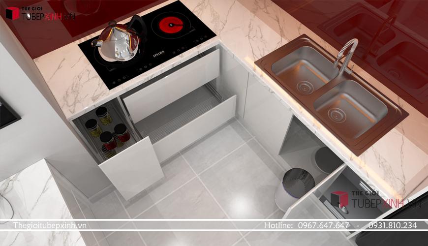 Tủ bếp tiện dụng cho các căn hộ chung cư theo yêu cầu