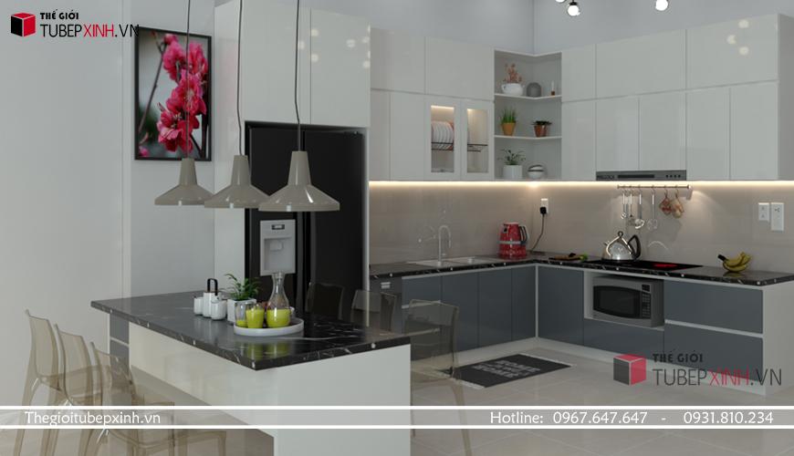 Nhà bếp đẹp tiện dụng với chất liệu cao cấp