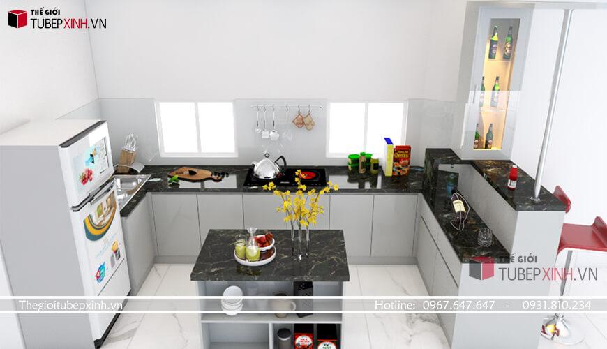 Tủ bếp đẹp hiện đại tại tphcm kết hợp bàn đảo và quầy bar