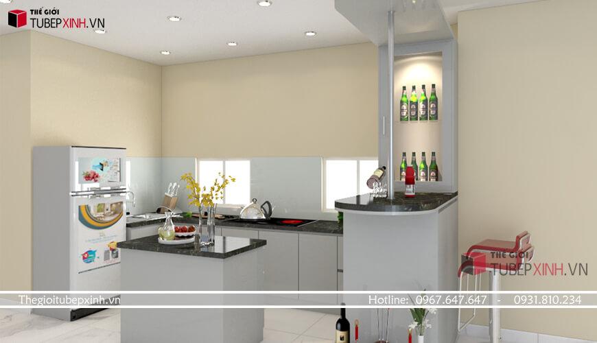 Tủ bếp đẹp hiện đại màu trắng xám