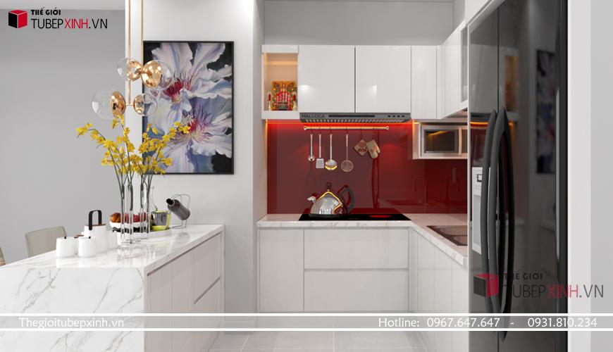 Tủ bếp acrylic màu trắng hiện đại giá rẻ