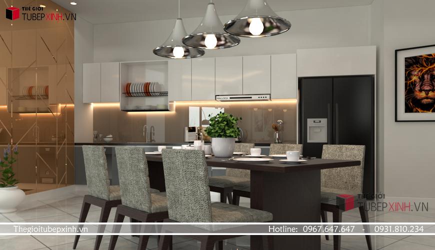 Tủ bếp hiện đại chữ I với độ bóng cao