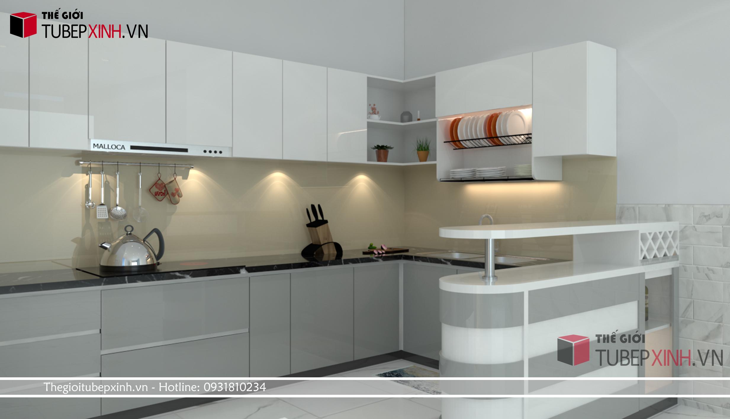 Tủ bếp kiêu dáng hiện đại với độ bóng gương cao mang đến vẻ sang trọng