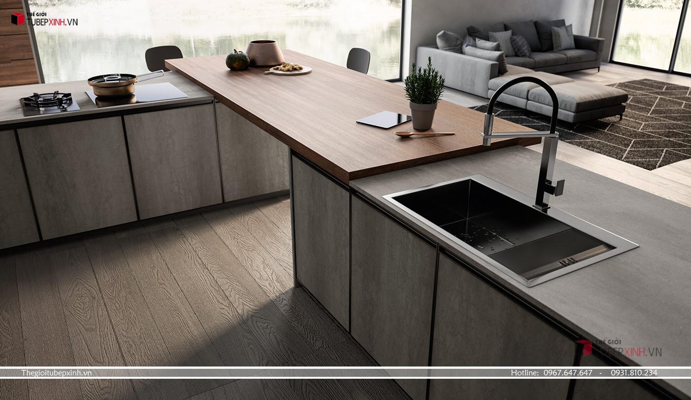 Tủ bếp gỗ công nghiệp chữ L