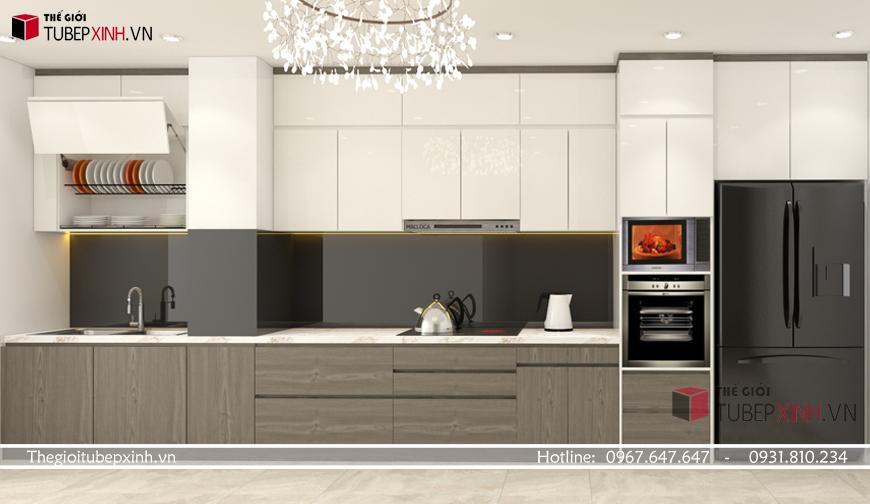 Kết hợp màu sắc vân gỗ và đơn sắc cho tủ kệ bếp