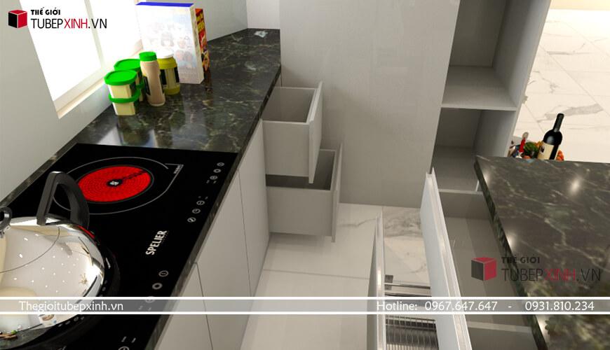 Tủ bếp Acrylic căn hộ chung cư khách hàng tại tphcm