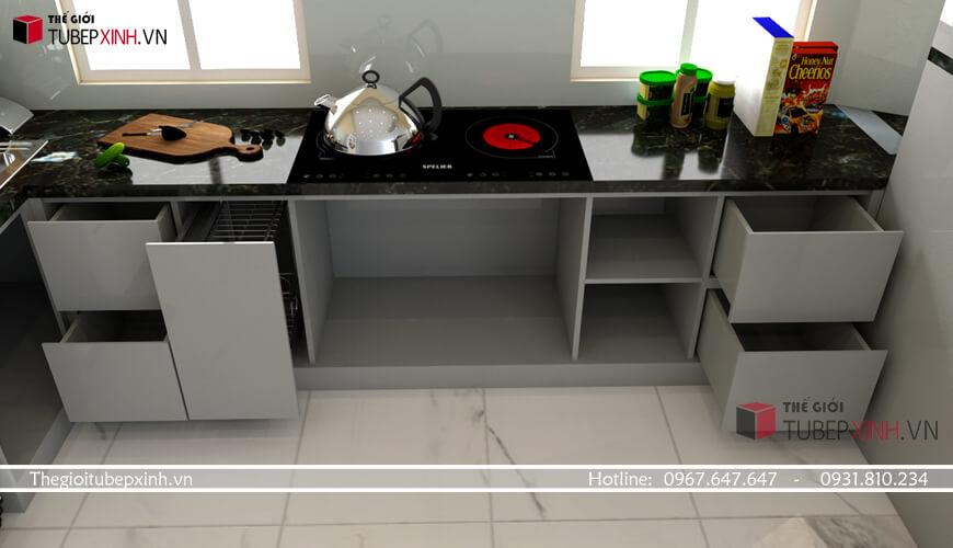 Tủ bếp thông minh bề mặt đá cao cấp