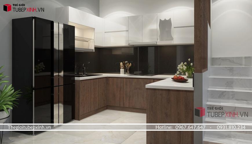 Chất liệu gỗ công nghiệp acrylic với độ bóng cao mang lại không gian sang trọng