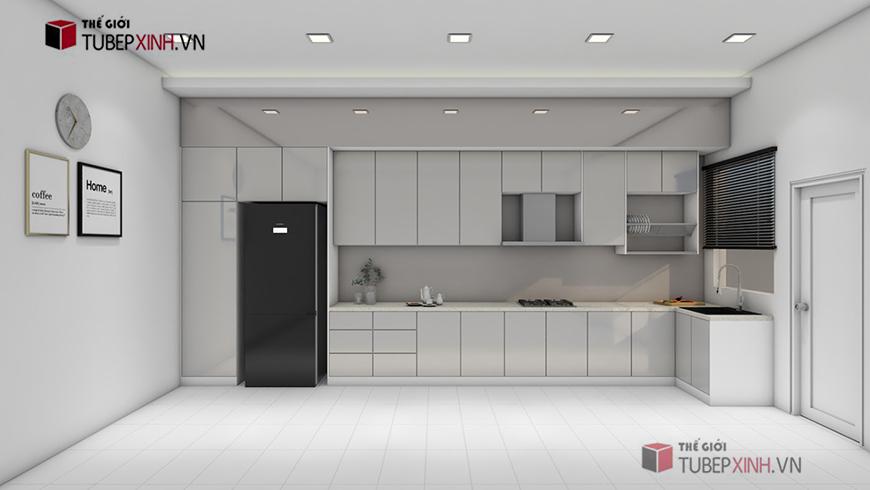 Kệ bếp acrylic màu trắng phù hợp với mọi không gian gia đình