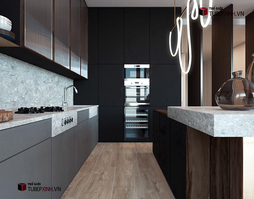 Thiết kế các dòng tủ bếp đẹp với bề mặt đá cao cấp