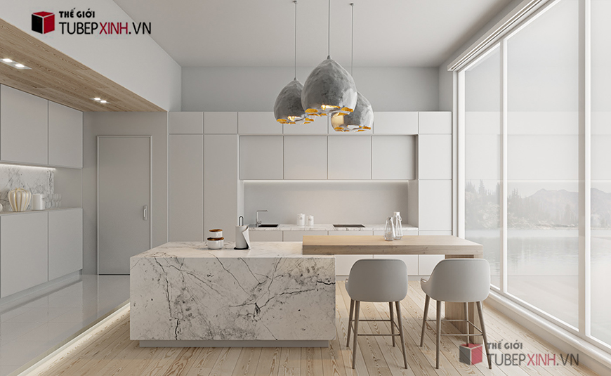 Mẫu bếp màu trắng sang trọng cho không gian nhà bếp