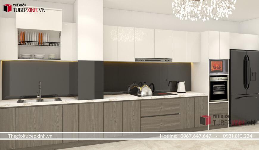 Mẫu tủ bếp chữ i đơn giản